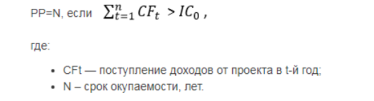 Формула расчета срока окупаемости инвестиций